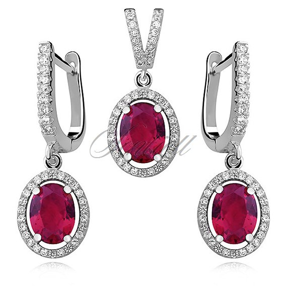 Silver Set (925)  oval ruby zirconia