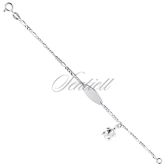 Silver bracelet figaro (925) with ID tag and turtle pendant