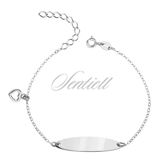 Silver bracelet with a tag and heart - adjusted length