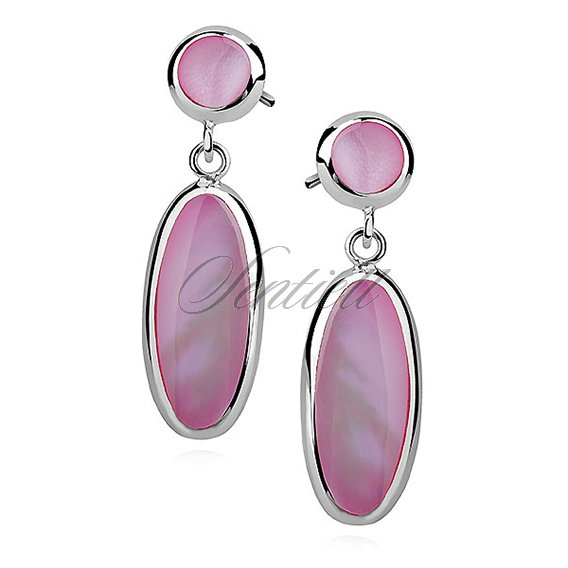 Silver earrings 925 charm - oval - pink