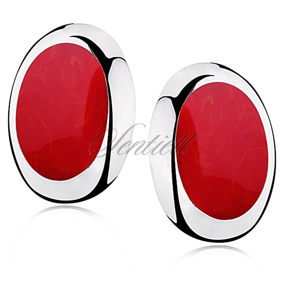 Silver earrings 925 oval - Coral