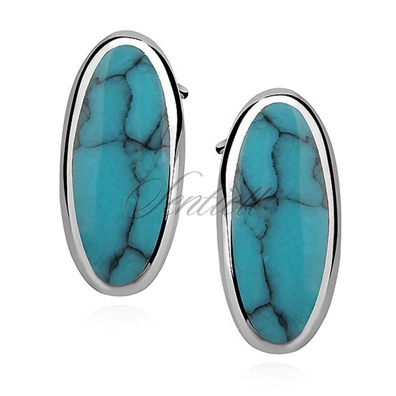Silver earrings 925 oval - turquoise