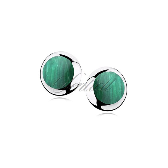 Silver earrings 925 round - Malachite