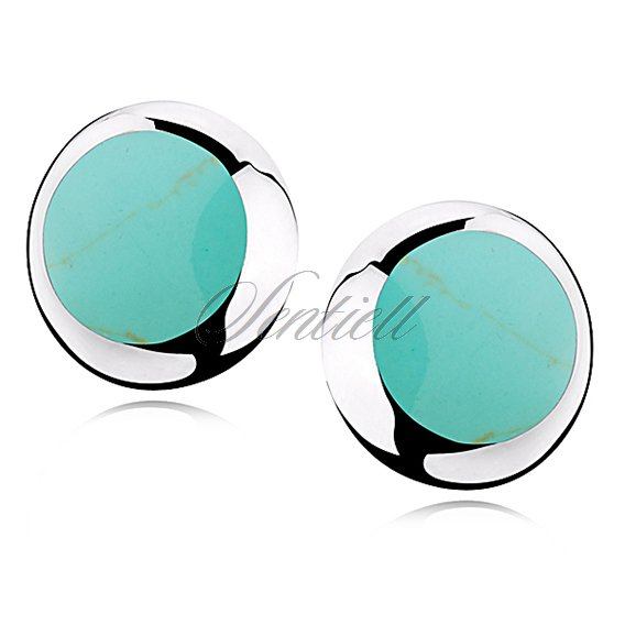 Silver earrings 925 round - Mint colored mineralite