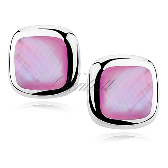 Silver earrings 925 square - Pink opal