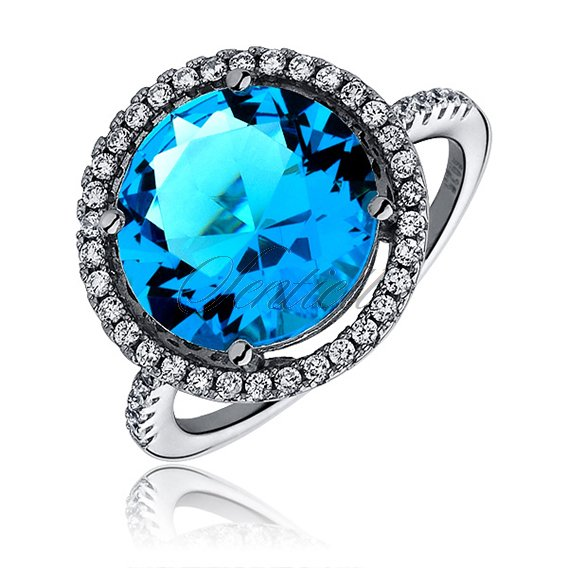 Silver elegant (925) ring with big aquamarine colored zirconia