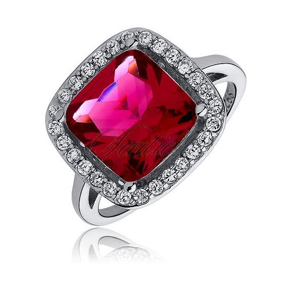 Silver elegant (925) ring with big ruby colored squer zirconia