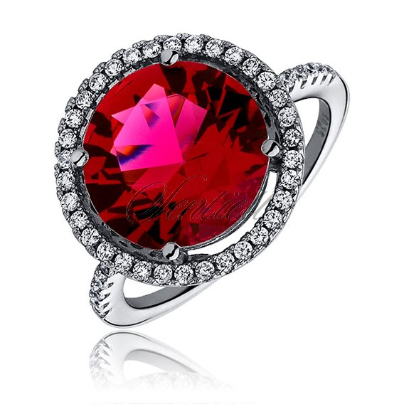 Silver elegant (925) ring with big ruby colored zirconia