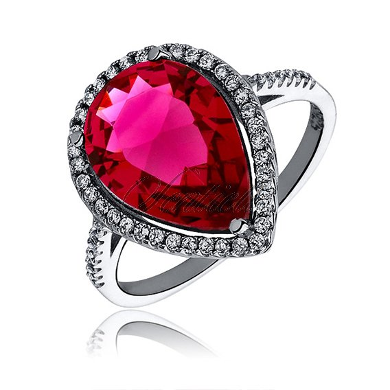Silver elegant (925) ring with big ruby colored zirconia teardrop