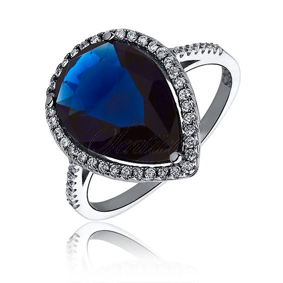 Silver elegant (925) ring with big sapphire colored zirconia teardrop