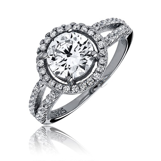 Silver elegant (925) ring with white colored zirconia