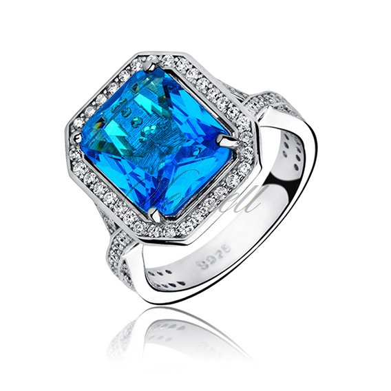 Silver fashionable (925) ring with aquamarine colored zirconia