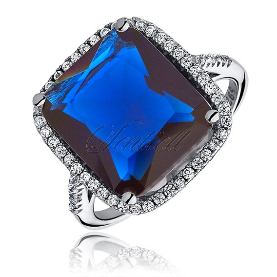 Silver fashionable (925) ring with sapphire colored zirconia