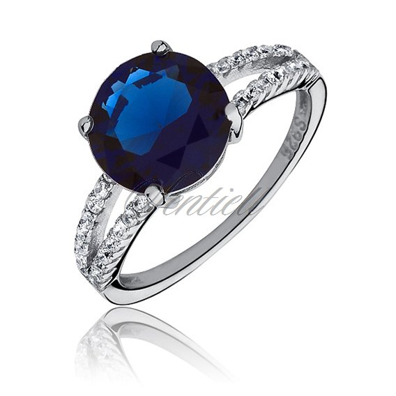 Silver fashionable (925) ring with sapphired colored zirconia
