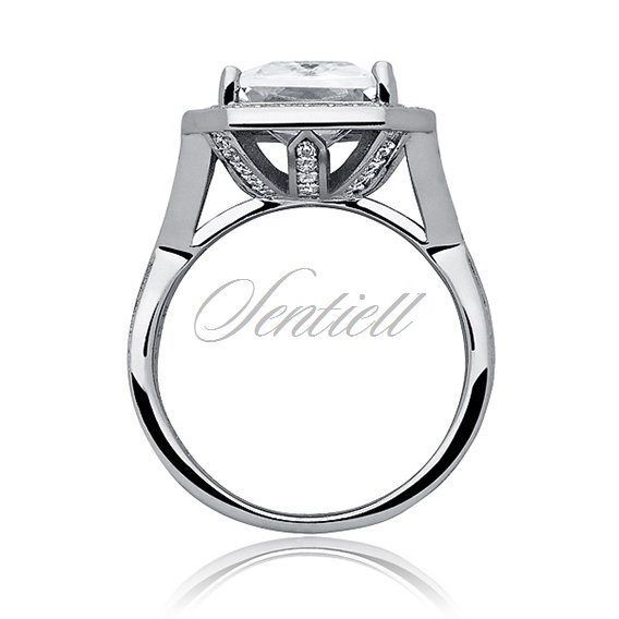 Silver fashionable (925) ring with white colored zirconia