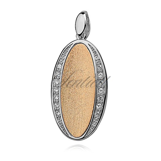 Silver, oval (925) pendant - gold-plated with satin effect