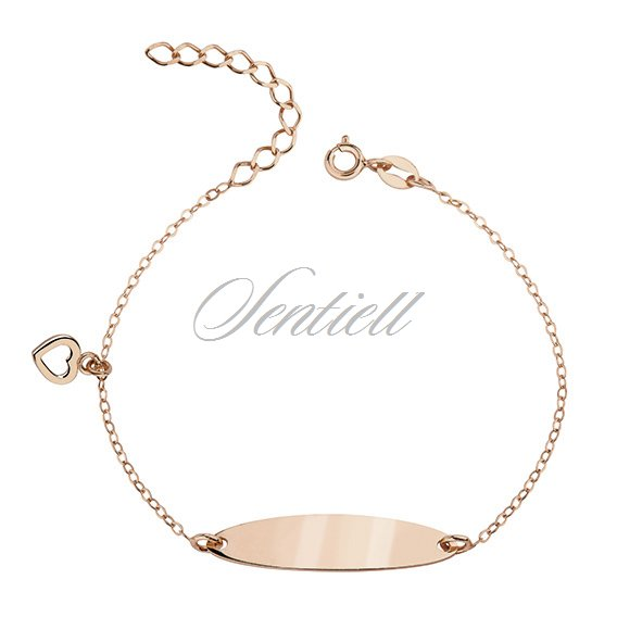 Silver, rose gold-plated bracelet with a tag and heart - adjusted length