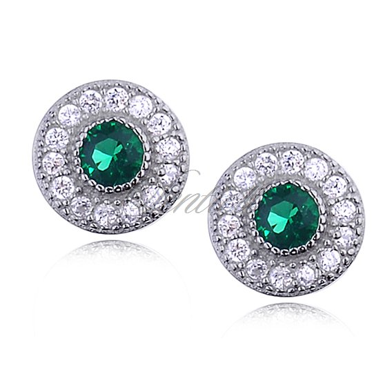 Silver round (925) Earrings emerald colored zirconia