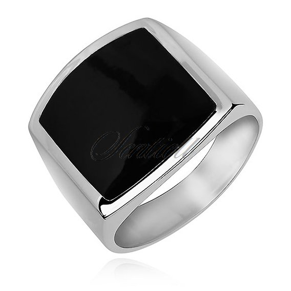 Silver signet ring 925 Onyx