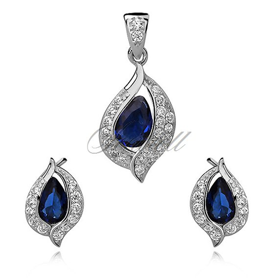 Silver, small set (925) sapphire drop with white zirconia