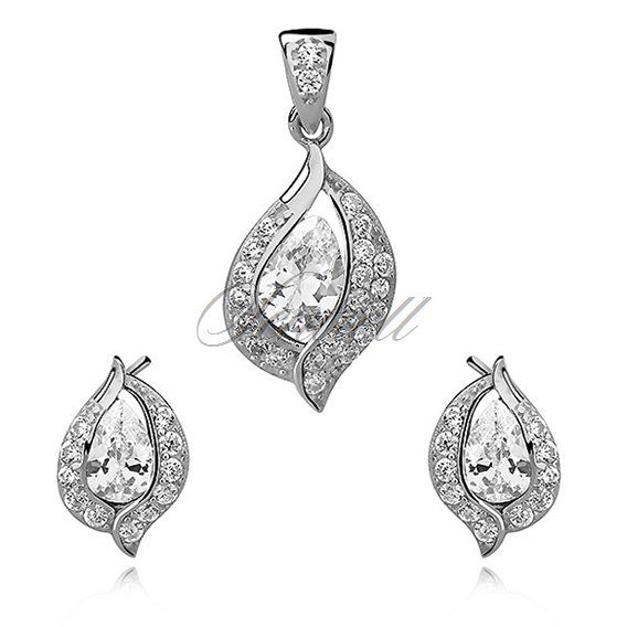 Silver, small set (925) white drop with white zirconia