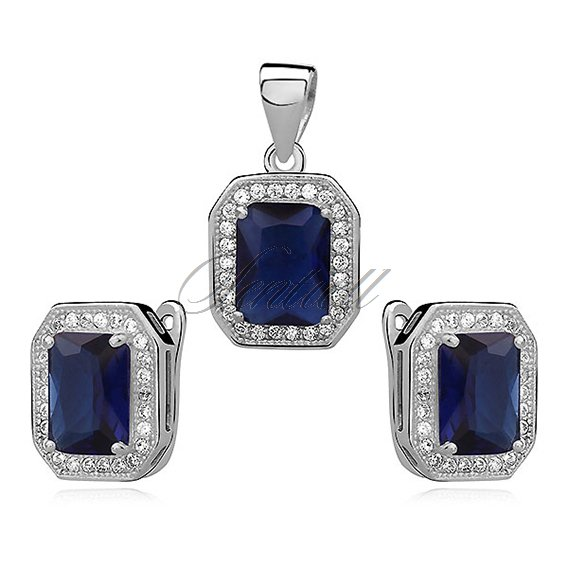 Silver unique set (925) zirconia - sapphire rectangle