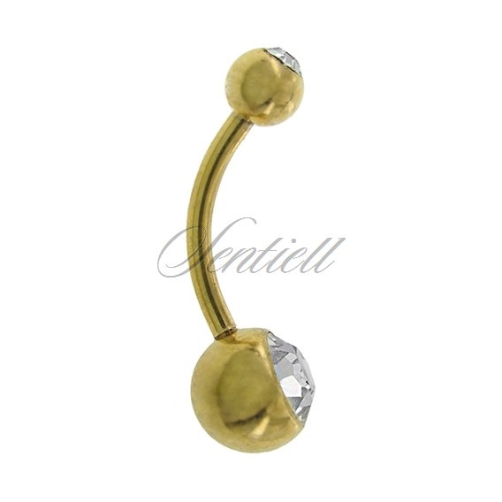 Stainless steel (316L) Golden navel piercing with ball - white zirconia