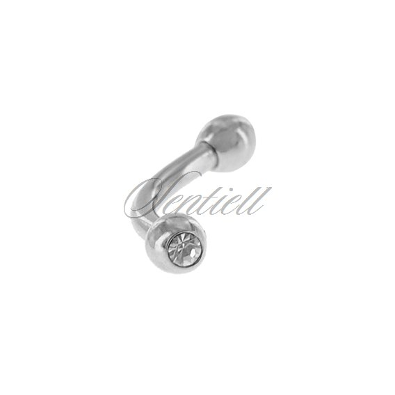 Stainless steel (316L) banana piercing for eyebrow - balls with zirconia