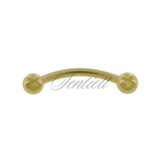 Stainless steel (316L) banana piercing for eyebrow - golden balls