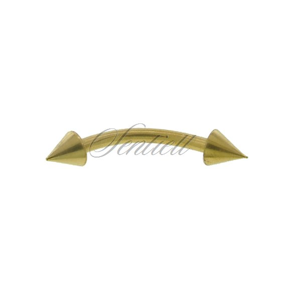 Stainless steel (316L) banana piercing for eyebrow - golden with spikes