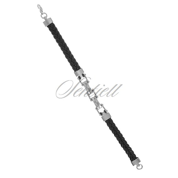 Stainlesss steel (316L) bracelet with leather