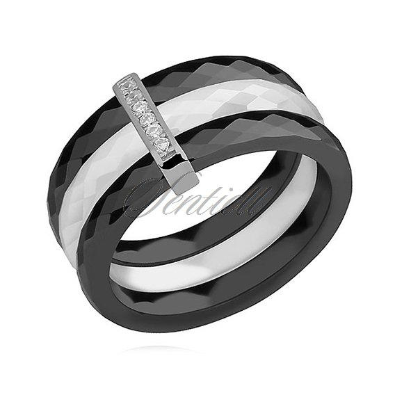 Triple ceramic black&white ring, with silver (925) rectangular element with zirconia
