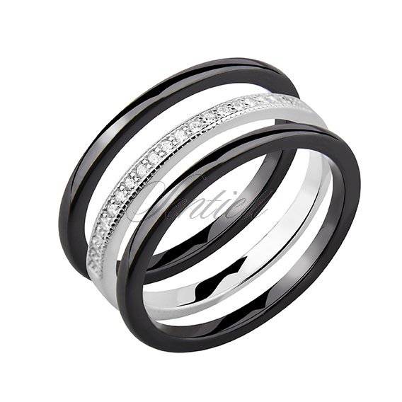 Two black ceramic ring and silver ring with zirconia