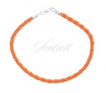 Leather bracelet with a silver (925) clasp - orange