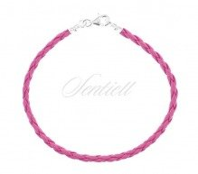 Leather bracelet with a silver (925) clasp - pink