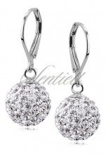 Silver (925) Earrings disco ball 12mm white classic
