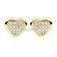 Silver (925) Earrings zirconia microsetting hearts gold-plated