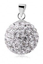 Silver (925) Pendant disco ball 14mm white classic