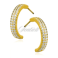 Silver (925) gold-plated, earrings open hoop with zirconia