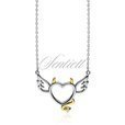 Silver (925) necklace - devil heart with zirconia - gold-plated tail and horns