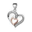 Silver (925) pendant - rose gold-plated heart in heart with zirconia