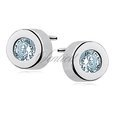 Silver (925) round earrings auamarine zirconia