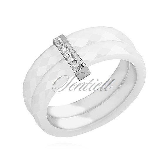 064767018300 Podwójny pierścionek ceramiczny biały ze srebrnym (pr. 925) elementem -  prostokąt z cyrkoniami ...