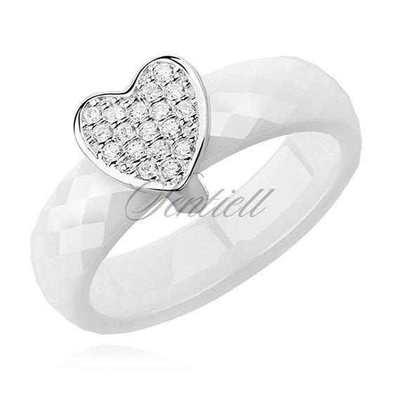 08657403679d Pierścionek ceramiczny biały ze srebrnym (pr. 925) elementem - serce z  cyrkoniami ...